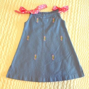 Toddler Girl Embroidered Seahorse Dress, Size 2